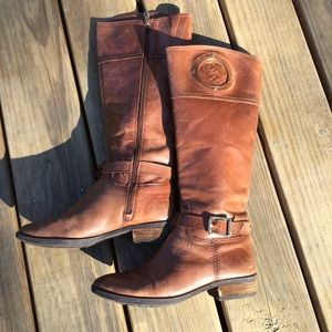 Vince Camuto Tall Leather Boots with Logo …